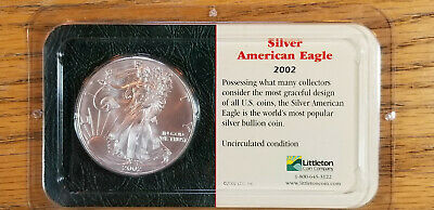 2002 Silver American Eagle Dollar, Uncirculated, Sealed in Littleton Showpak