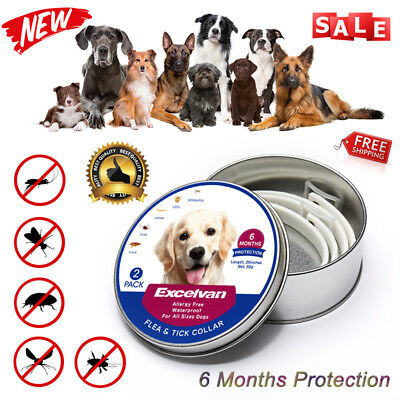 2x Excelvan Pet Flea & Tick Collar For All Sizes Dogs 6-Month Protect Adjustable