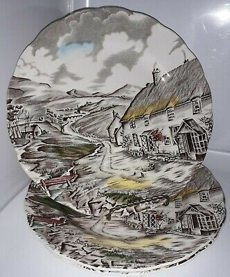 3 Decorative Plates: Quiet Day W.H. Grindley, Staffordshire England