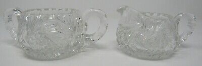 Vintage ABP Creamer Sugar Set Whirling Star Pinwheel RARE Antique Cut Glass