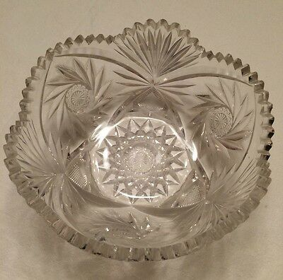 """American Brilliant Period Deep Cut Crystal Glass 8 1/4"""" Thick Heavy Serving Bowl"""