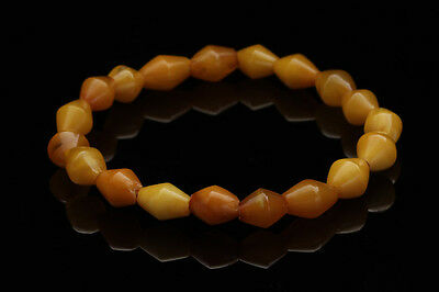 ANTIQUE Butterscotch Real Old Bead Strand Genuine BALTIC AMBER Bracelet 140602-4