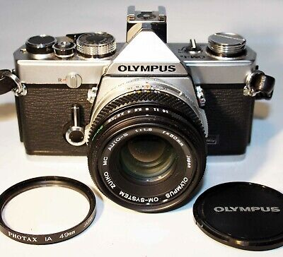 Olympus OM 1N MD 35mm SLR Camera OM-SYSTEM ZUIKO MC AUTO-S 50mm f1.8 Prime Lens