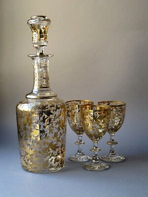 Antique Bohemian Clear and Hand Painted Gilding Glass decanter and 3 glasses