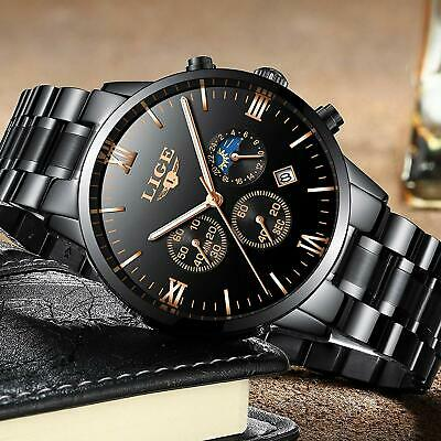 LIGE Herren-Armbanduhr, wasserdicht, Quarz, Kalender,Business Casual Luxus