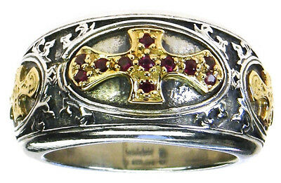 Gerochristo 2661 ~ Solid 18K Gold, Sterling Silver & Rubies  Medieval Cross Ring