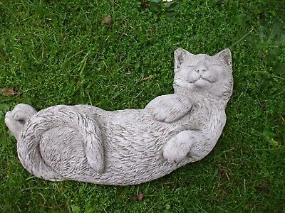 Laying Sleeping Cat Cats Stone Garden Sculpture Ornament Statue