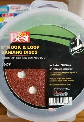 "5"" Hook & Loop Sanding Discs 8 Hole, 50 Pieces, 60 Grit, New"