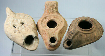 Collection of three pottery oil lamps, Greek or Roman?