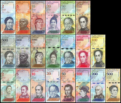 Venezuela 2007 2018 Full Set 21 Pcs 2-100000 & 2-500 Bolivares Soberanos New-Unc