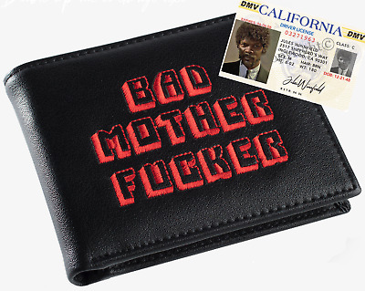 Black & Red Embroidered BMF (Bad Mother Fu**er) Leather Wallet With Jules ID