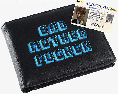 Black & Blue Embroidered BMF (Bad Mother Fu**er) Leather Wallet With Jules ID