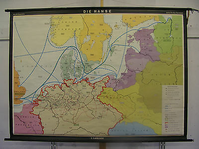 Schulwandkarte Wall Map School Map Role Map Die Hanse Hansa Rostock 186x135cm