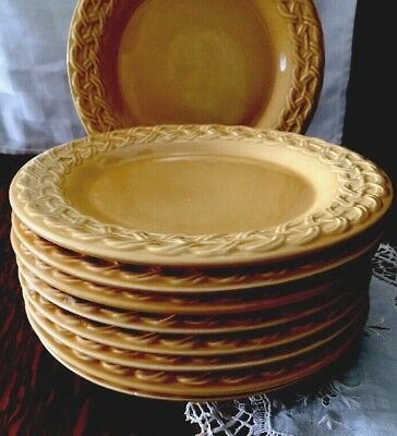 TWO Pier 1 ~ Autumn Gold w/Embossed Rope Rim SALAD DESSERT PLATES~More available