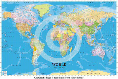 Political Map Of The World  - Professionally LAMINATED / ENCAPSULATED Poster