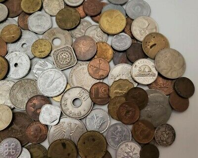 World Foreign 154 pc. Coin Lot 55+ Countries 1924 to 1979 Collect Jewelry Craft