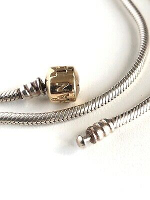 Pandora Sterling Silver with 14ct gold lock Necklace 50cm- 590702HG