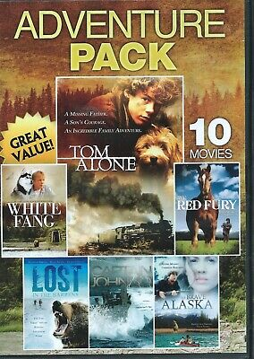 Adventure pack DVD 10 family movies 2 disk 50-104 min long open box played once