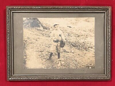 Fantastic 1890's Philadelphia Child Baseball Player Framed Cabinet Photo Antique