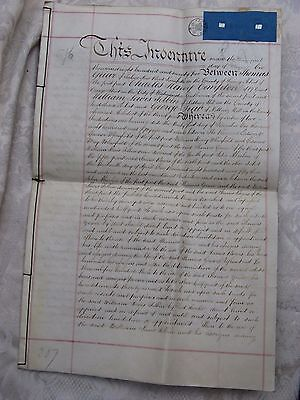 antique 1875 INDENTURE document St. Giles Middlesex England very good condition~