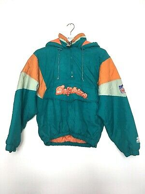 Miami Dolphins Youths Large NFL Starter Hooded Quilted Jacket Vintage