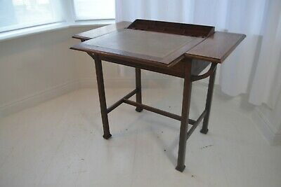 Stunning Vintage Scottish Arts & Crafts Stones Patent Oak Writing Desk - 1910