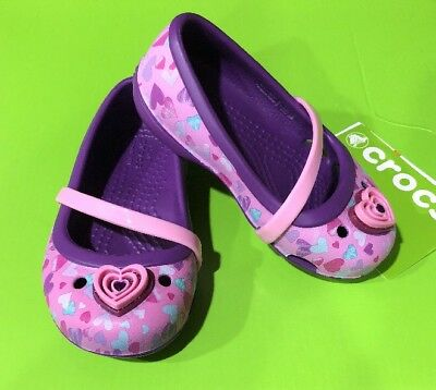 15b60087f488 Crocs Girls Lina Flat K Toddler Size 6 C6 Amethyst NEW WITH TAGS