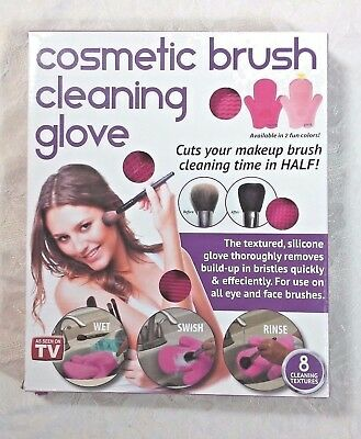 Cosmetic Brush Cleaning Glove Magenta Brush Scrubber Silicone NEW As Seen On TV