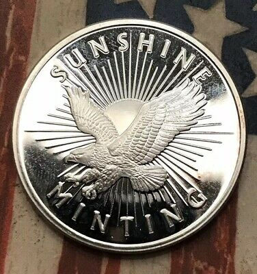 SILVER EAGLE, SUNSHINE MINTING, ONE TROY OUNCE .999 FINE SILVER #EX23 Sharp