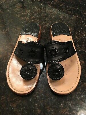 df06ea5be59e Jack Rogers Navajo Black Patent Sandals Thong Flip Flop Shoes Sz 5 EUC