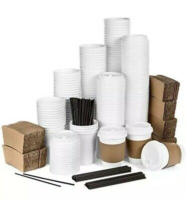 Average Joe - 120 Pack Oz Disposable Hot Paper Coffee Cups Lids Sleeves To Go