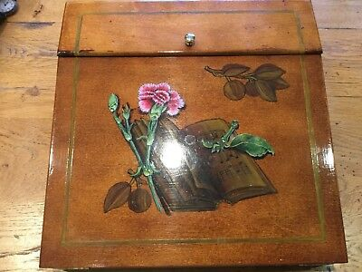 Mahogany Writing Slope Desk Top Box Painted by Renowned Artist GABRIELLA BLAKEY