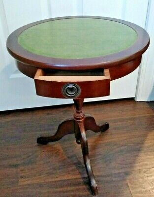 Duncan Phyfe Round Table With Drawer.Antique Round Drum Side Duncan Phyfe Wood End Table Green Leather Top One Drawer