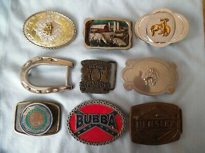VINTAGE 9pc. BELT BUCKLE LOT Made in America ,1 made in Japan.