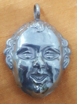 Superb ART NOUVEAU Antique Silver Baby Rattle Smiling Boy Early 1900's