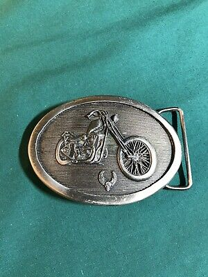 Vintage Biker Motorcycle Belt Buckle 1977 Indiana Metal Craft Ride Hard Die Fast