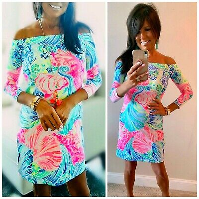 58208dcab40e2a LILLY PULITZER Laurana Off Shoulder BEACH PLEASE Dress NWT Pink Multi S or  XXS