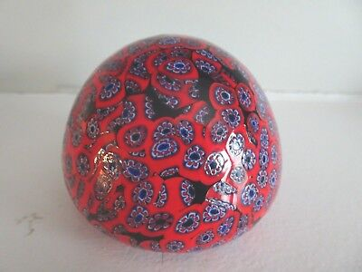 Vintage Murano Art Glass Italy MILLEFIORI Blown Paperweight Close Packed