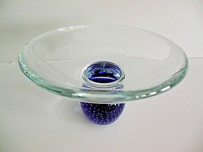 Murano Art Glass Paperweight BASE Controlled Bubble BOWL Compote Candy Dish BLUE