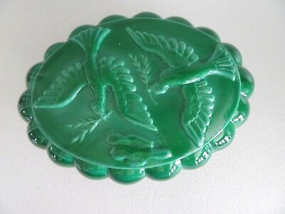 GREEN MALACHITE Doves Covered Dresser Box Bohemian Czech Republic Glass ART DECO
