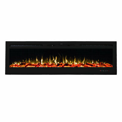 """New 1500W 72"""" Recessed Wall Mounted Electric Fireplace Flame Effect Fire Heater"""
