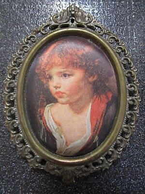 VTG Made in ITALY Victorian Oval Gold-Tone Ornate Metal Frame w/Silk Portrait