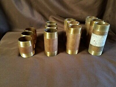 """12 Brass 2"""" Nipples From 3"""" To 5-1/2"""" In Length"""