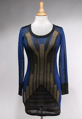 d414c2ad31790 French Connection Navy Blue Gold Metallic Geometric Shift Sweater Dress  Size 2