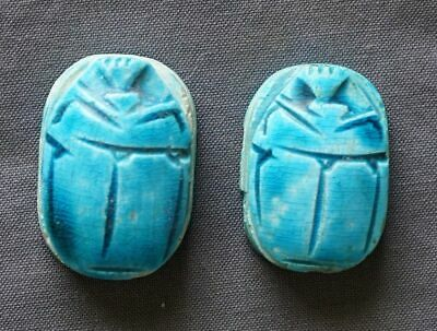 2 Egyptian revival turquoise color pottery scarab beads