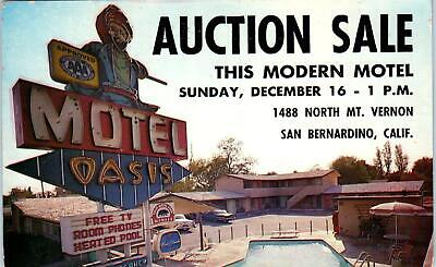 SAN BERNARDINO, CA California OASIS MOTEL AUCTION c1950s Roadside Postcard