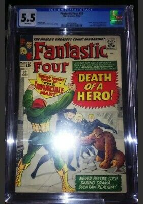 "Fantastic Four #32 CGC 5.5 White Pages ""Death"" of Dr Storm Super-Skrull App."