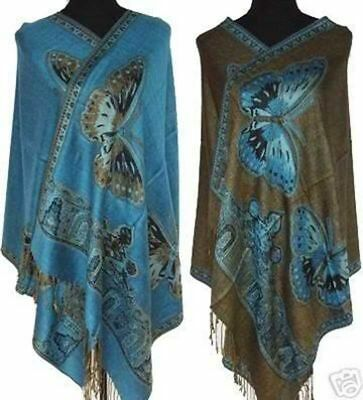 New Blue Long Women Lady Double-Side Butterfly Pashmina Scarf Wrap Shawl Cape*