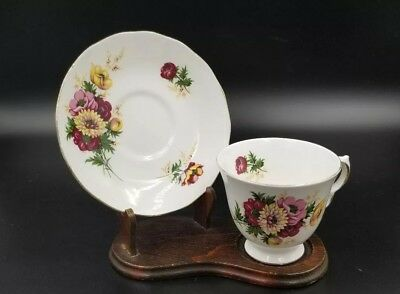 Vintage Bone China Tea Cup & Saucer By Queen Anne England Red Pink Yellow Floral