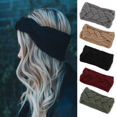 Color Hair Accessories Wool knitted Women Headband turban Elastic Head wrap